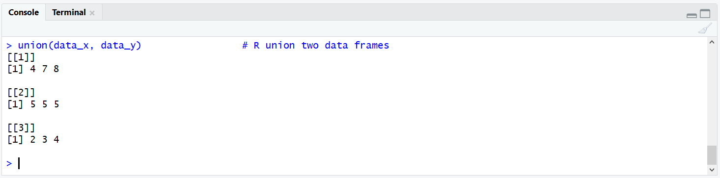 R union Data Frames