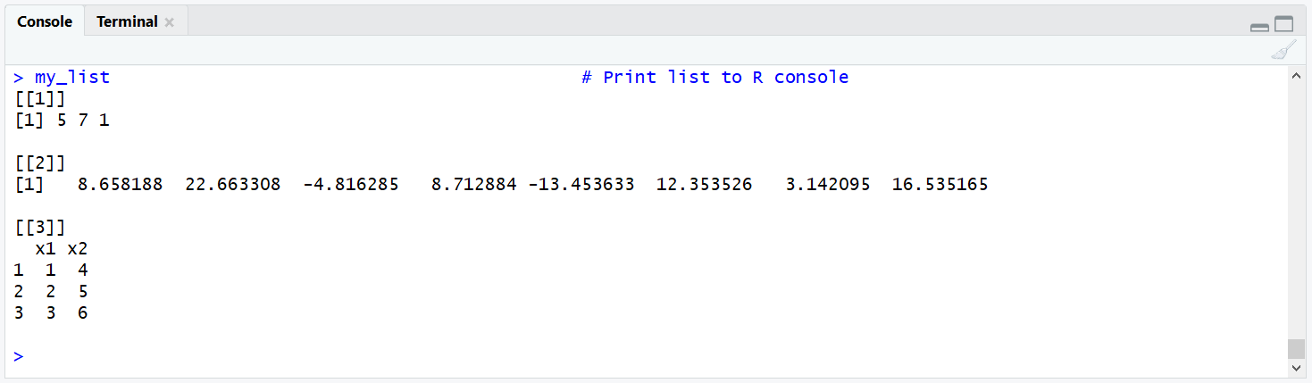 Example List for the Application of length() in R