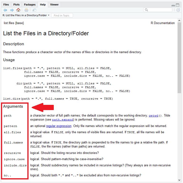 dir R Function Help Documentation