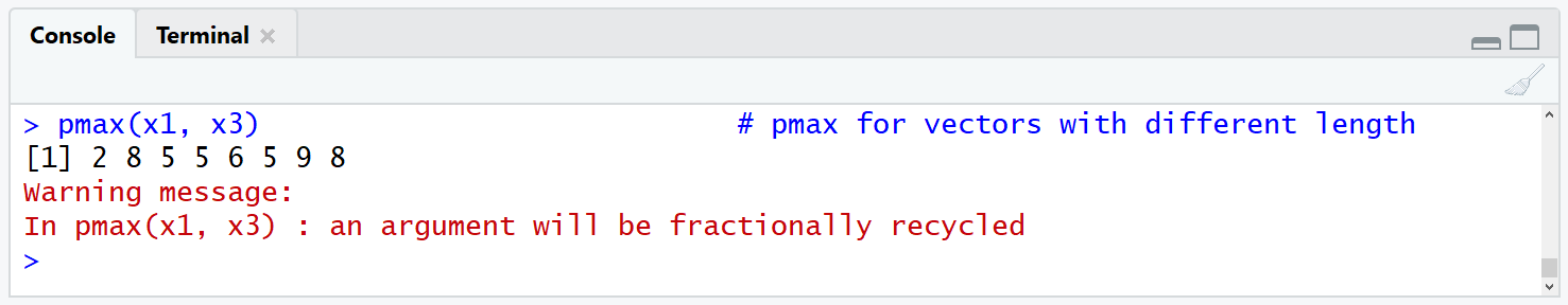 pmax omin Warning Message in RStudio