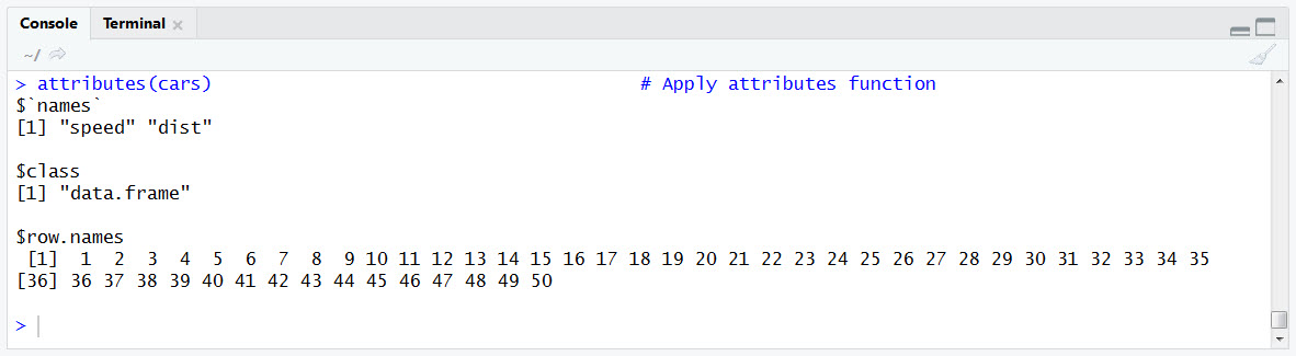 attributes Function Output