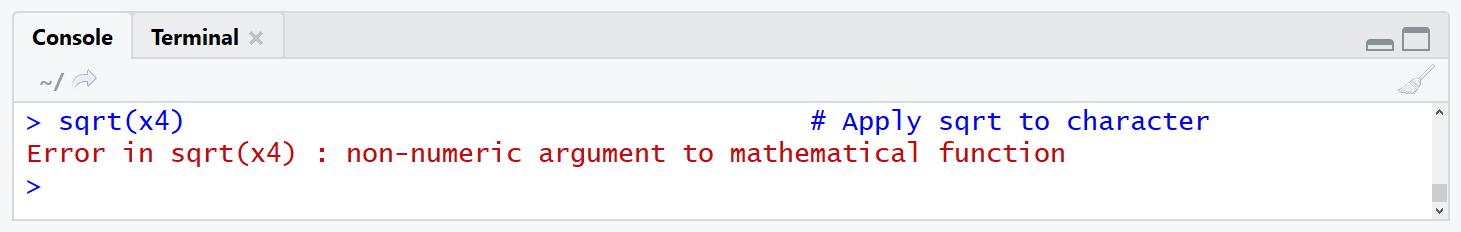Error in sqrt(x4) : non-numeric argument to mathematical function