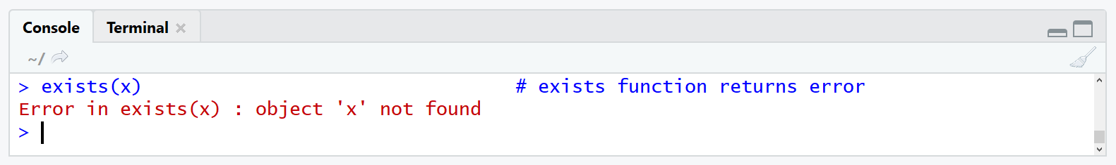 R error in exists x. object x not found