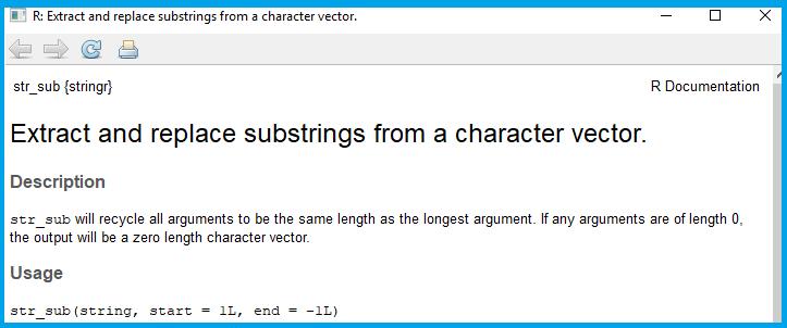R Documentation str_sub Function in R