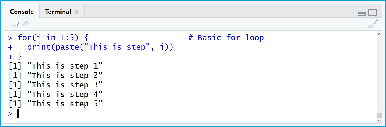 for-loop with basic R syntax