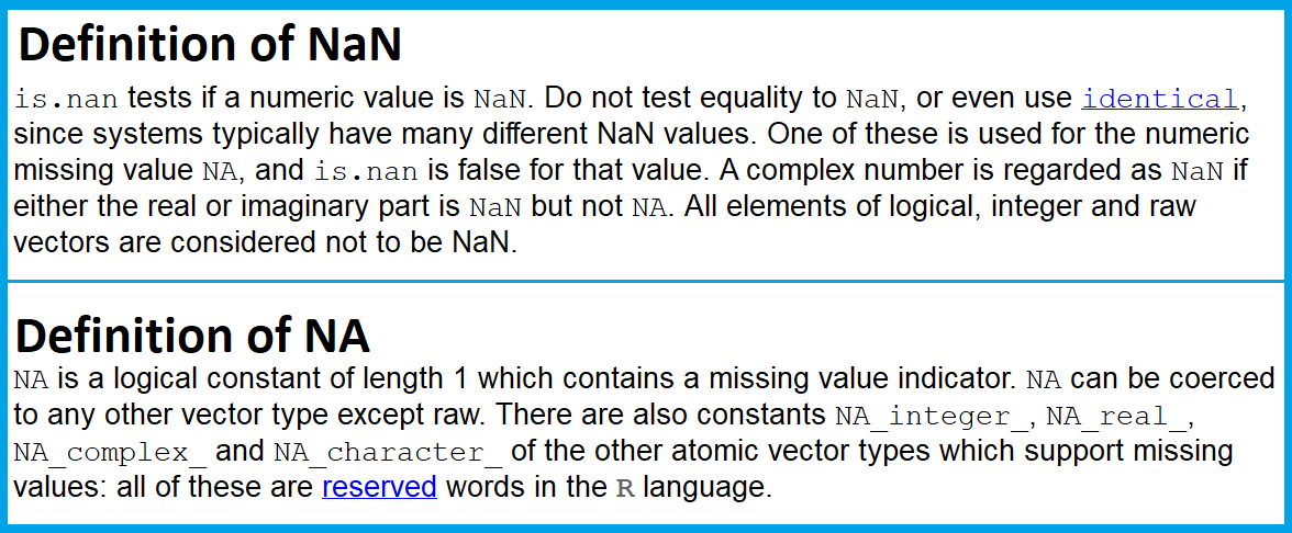 Difference of NaN and NA