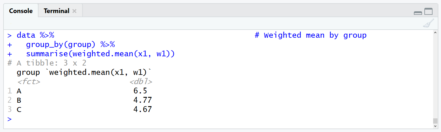 dplyr package tibble with weighted means