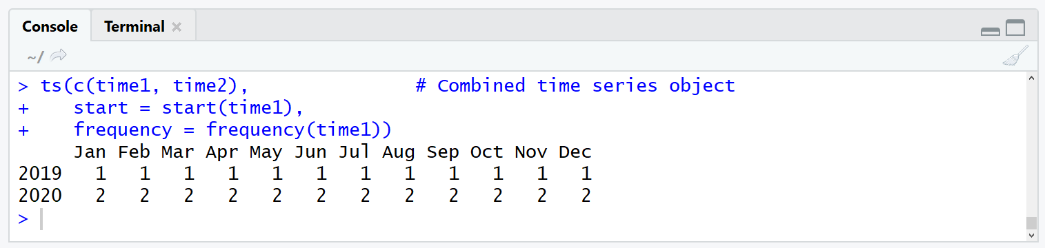 properly merge time series objects in r