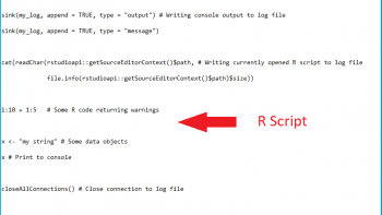 Save All Console Input & Output to File in R (Example)