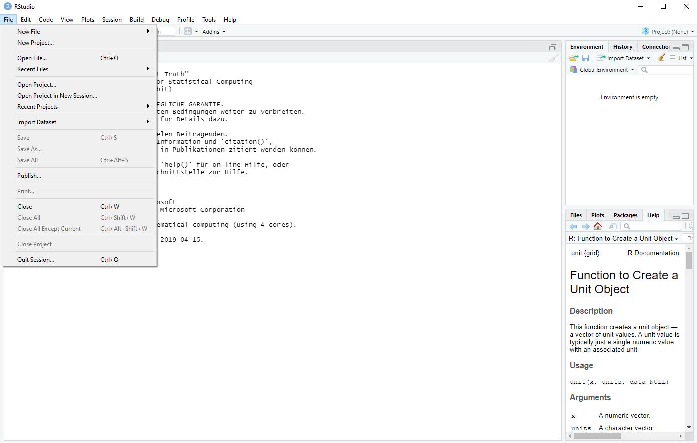 rstudio interface for r programming language