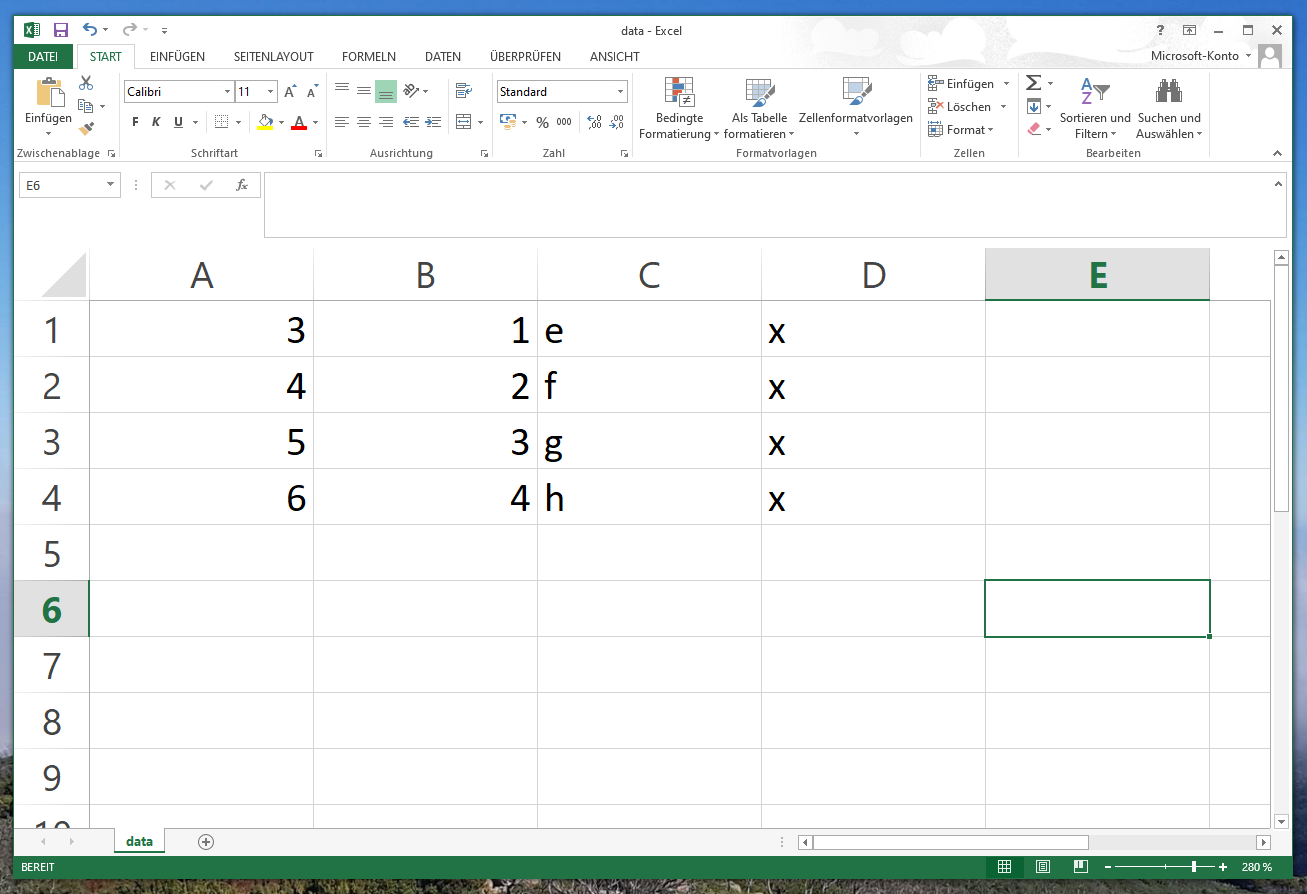 Excel csv without header