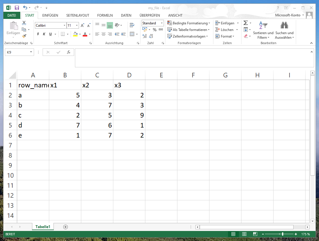 excel file with row names