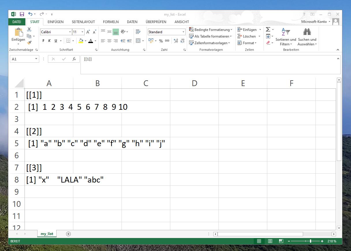 CSV file shows list