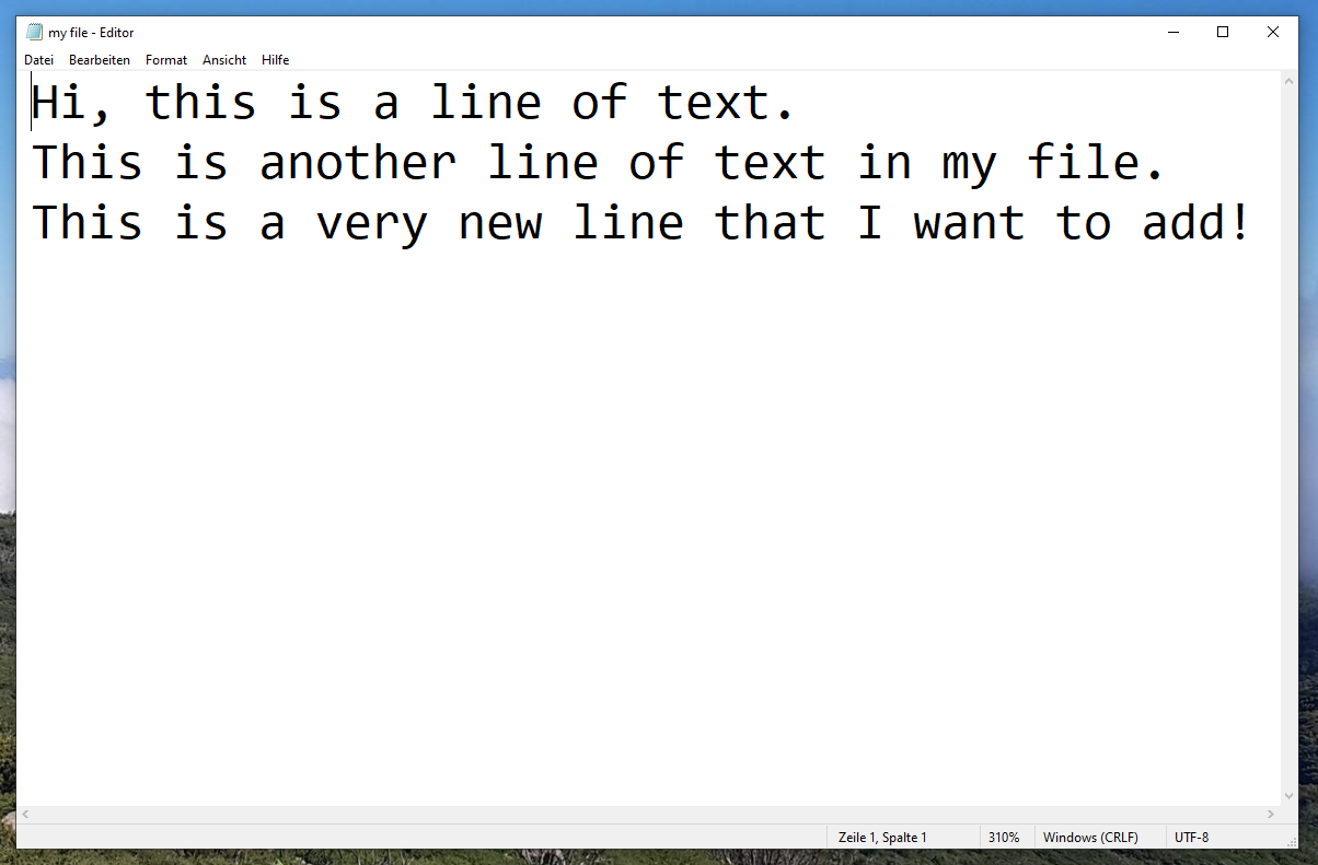 TXT file with new line