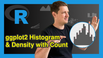 ggplot2 Histogram & Overlaid Density with Frequency Count on Y-Axis in R (Example)